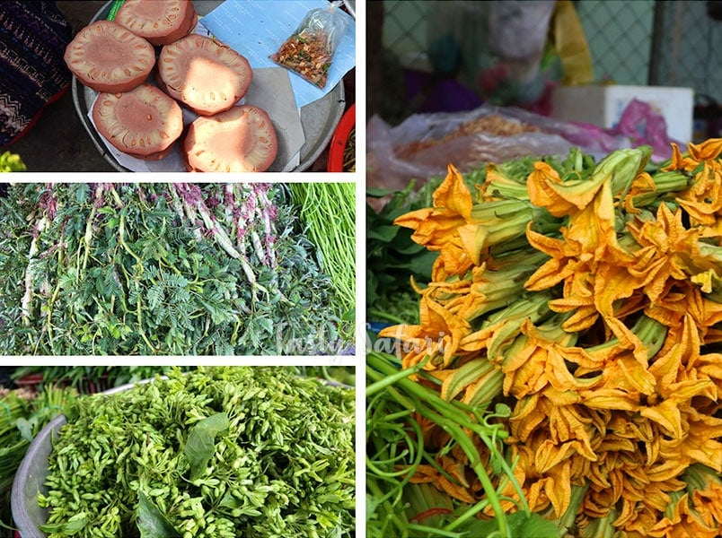 Lotus and squash flowers at a local market in Vietnam