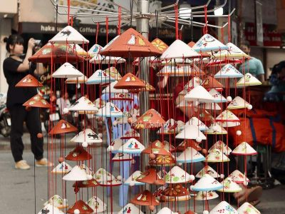 Wind chimes shaped like non la, the Vietnamese conical hat