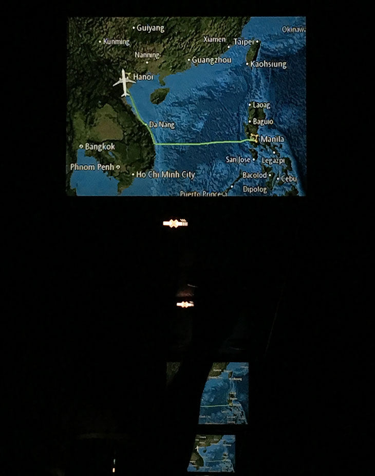 Path of PAL flight from Manila to Hanoi that obviously avoided Chinese airspace