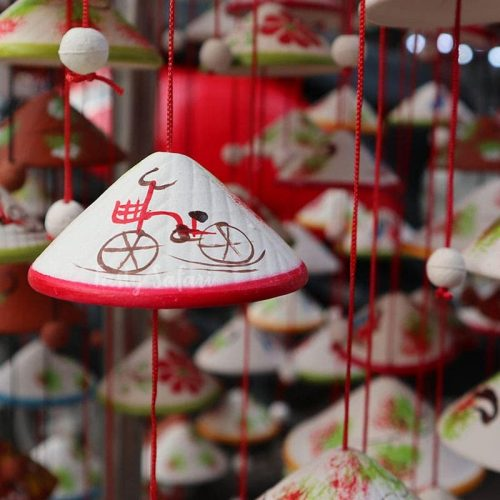 Wind chimes shaped like Vietnamese conical hats