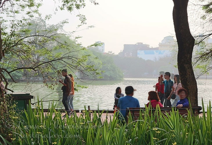 Hoan Kiem Lake on a Saturday afternoon.