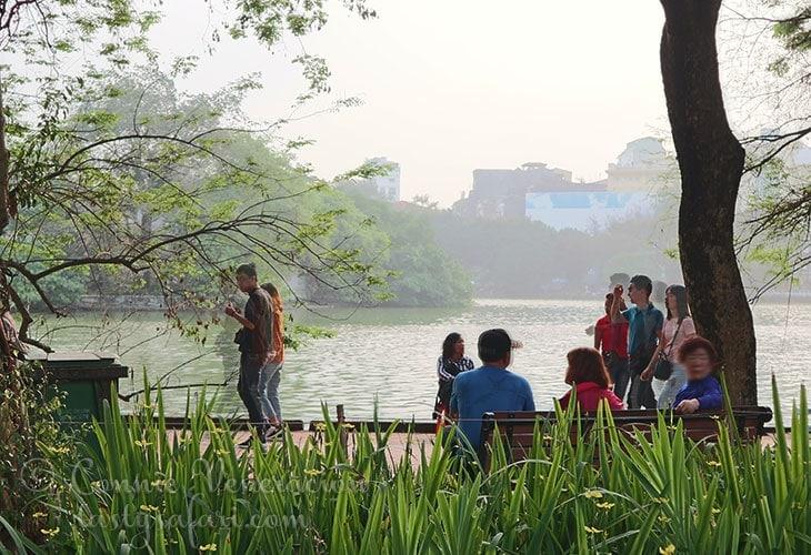 Hoan Kiem Lake on a Saturday afternoon.