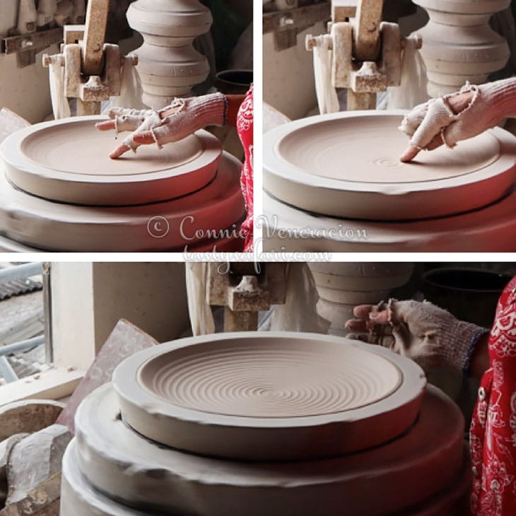 Designing a clay plate by hand