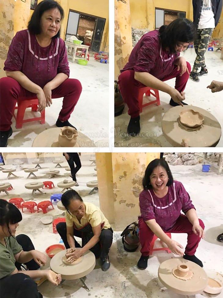 Connie Veneracion making pottery. Bat Trang Village, Vietnam.
