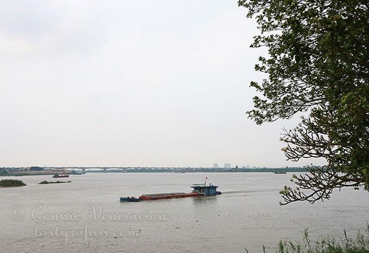 A barge on the Red River. Bat Trang Village, Vietnam.