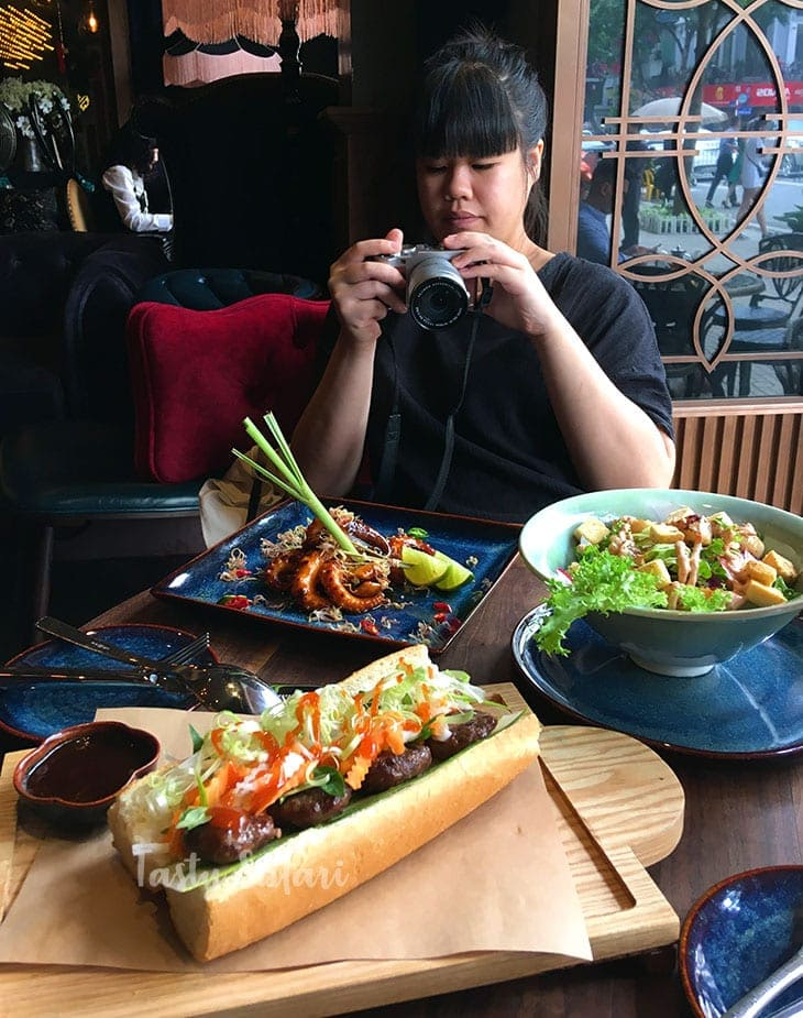 Succulent octopus, scallop salad and banh mi. SI Cuisine & Mixology, Hanoi