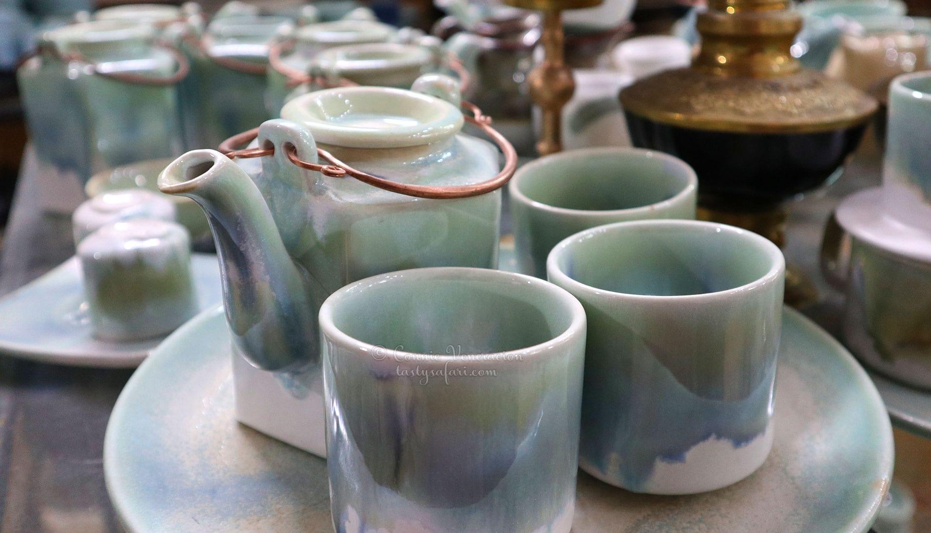 Ceramic teapot and cups. Bat Trang Village, Vietnam