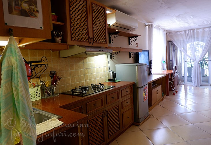 A full kitchen at our 50 square meter Airbnb apartment in Hanoi