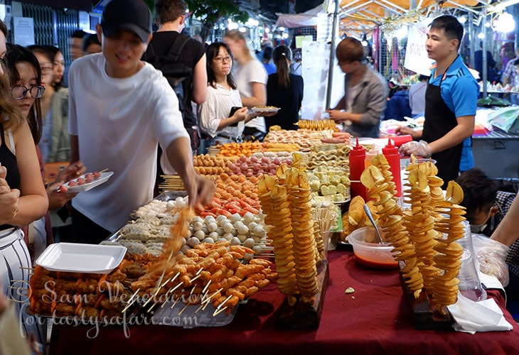 Skewered food at the Hanoi Night Market