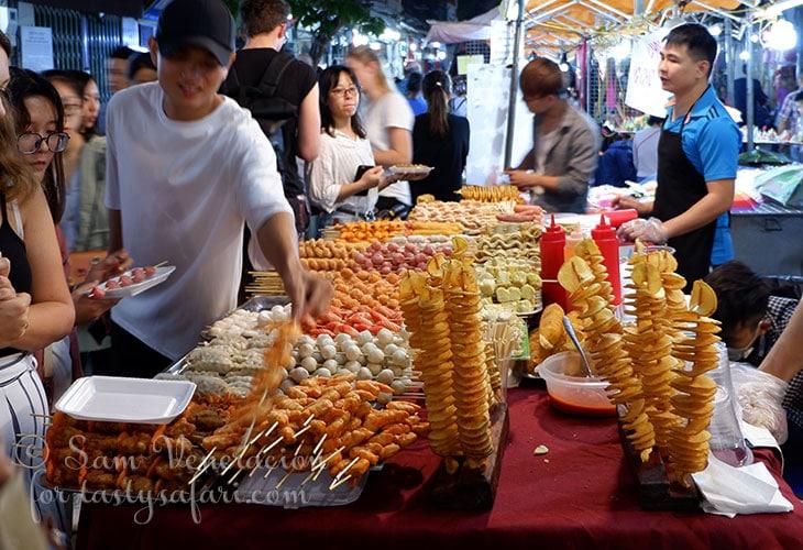 Skewered food at the Hanoi Night Market