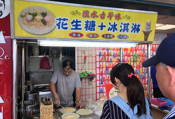 Ice cream roll shop. Tamsui waterfront