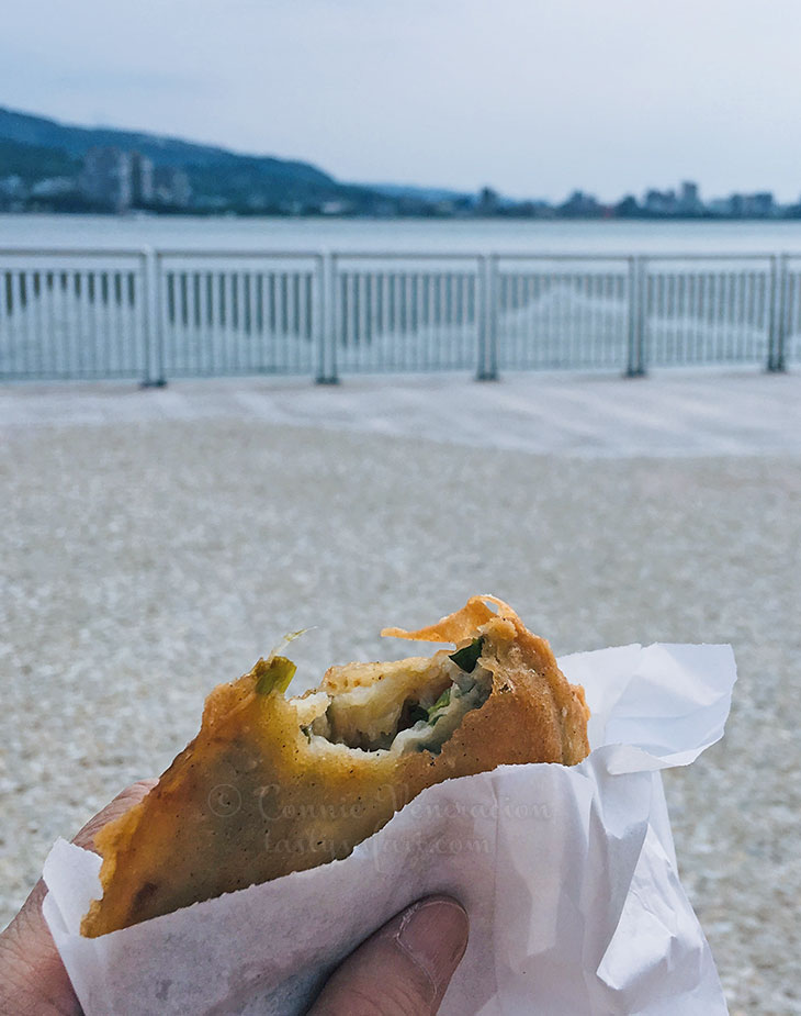 Eating Oyster pancakes at the waterfront, Tamsui