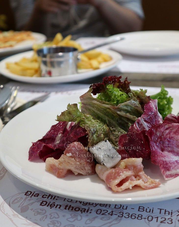 Salad with bacon and dragonfruit, Trattoria Tomato, Hanoi