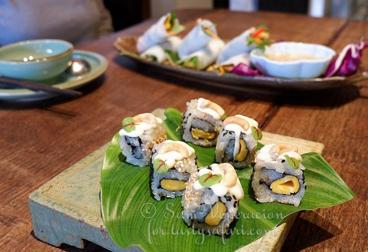 Vegan sushi at Uu Dam Chay, Hanoi