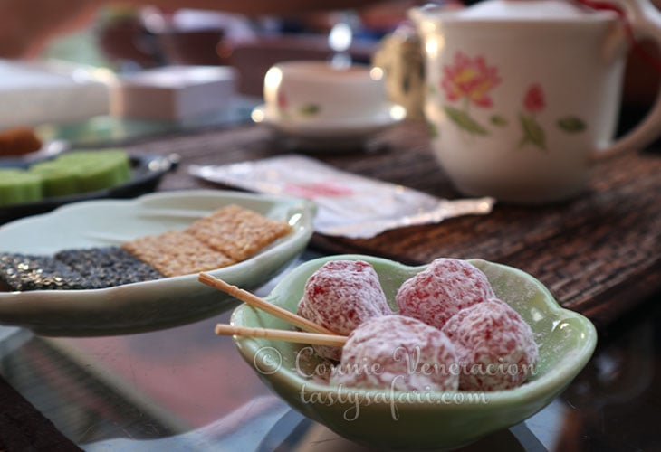 Cherries and sesame seed crackers  at Amei Tea House, Jiufen, Taiwan