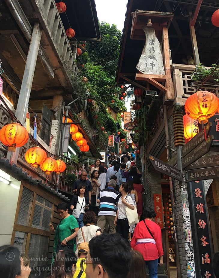 Climbing the stairs to Amei Tea House in Jiufen