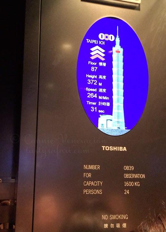 Inside the high speed elevator at Taipei 101