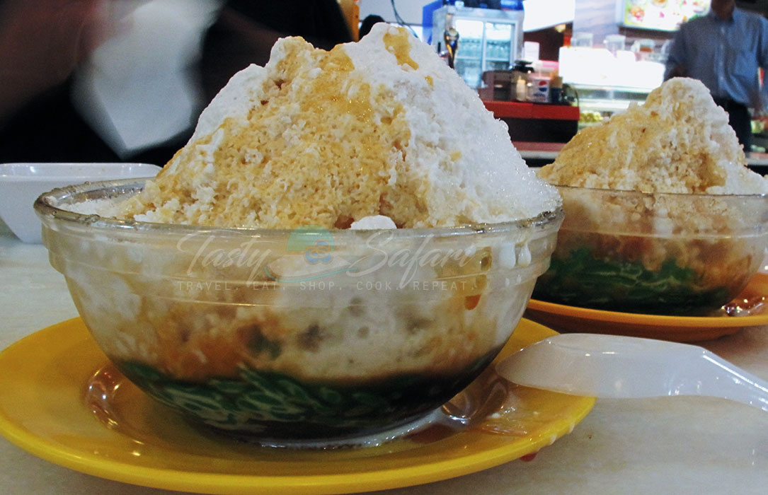 Malaysian shave ice, ais kacang, at a food court in Singapore.
