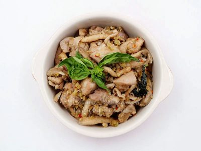 Vietnamese Braised Chicken and Mushrooms with Thai Basil Recipe