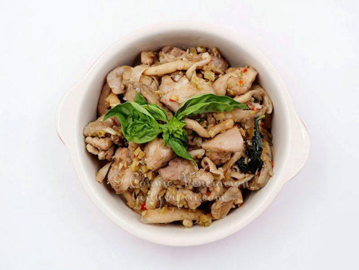 Vietnamese Braised Chicken and Mushrooms with Thai Basil Recipe