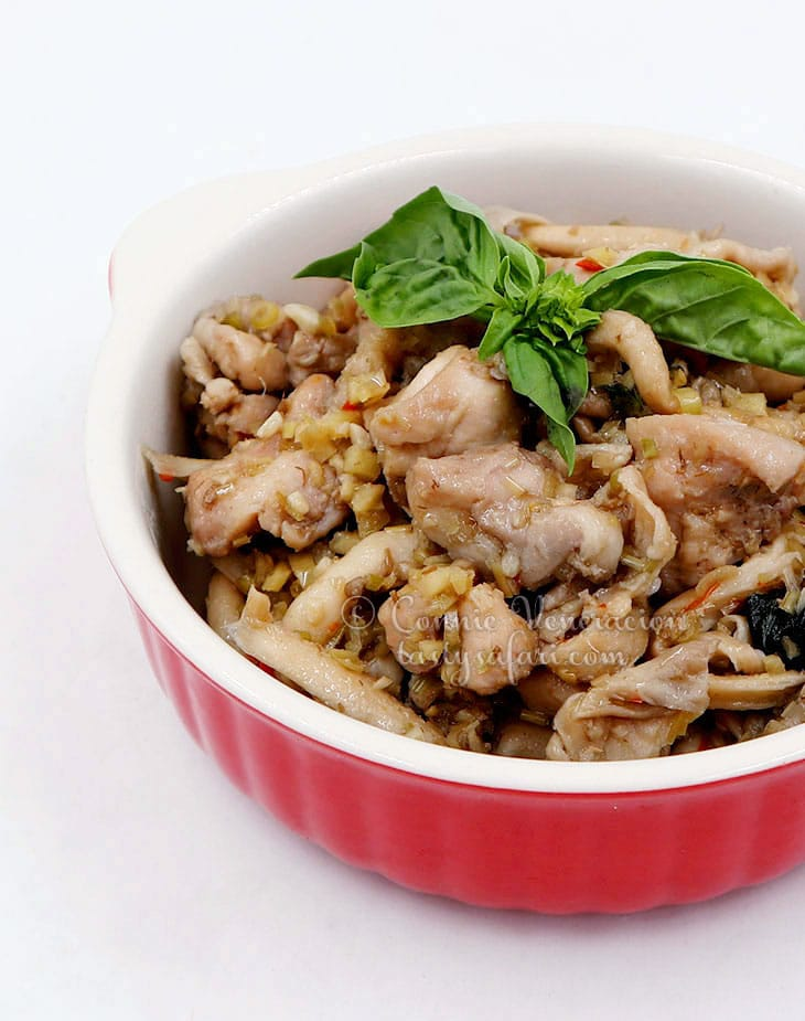 How to Cook Vietnamese Braised Chicken and Mushrooms with Thai Basil