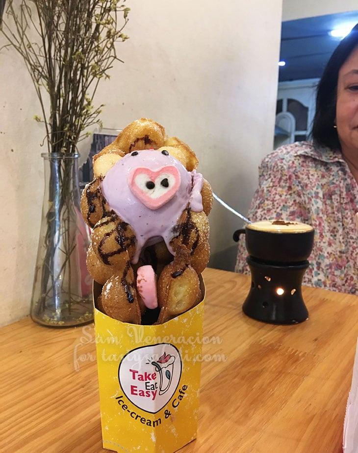 Egg waffle at Take East Easy Ice Cream & Cafe, Hanoi