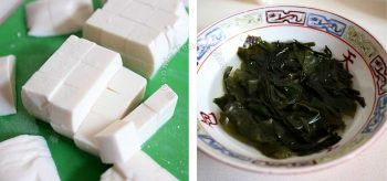 Soft tofu cut into cubes and wakame soaking in hot water