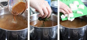 Steps in making miso soup