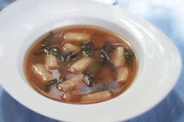 White Asparagus and Spinach Miso Soup
