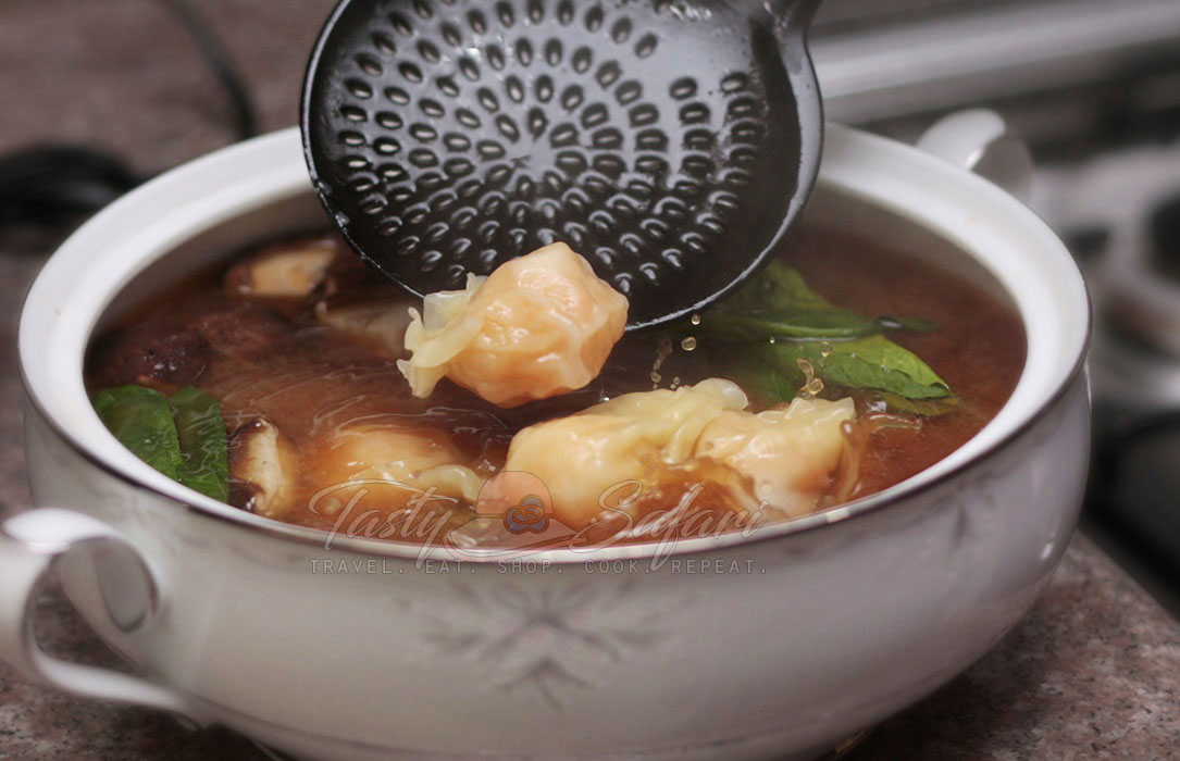 Miso Soup with Shrimp Wonton and Shiitake Mushrooms Recipe