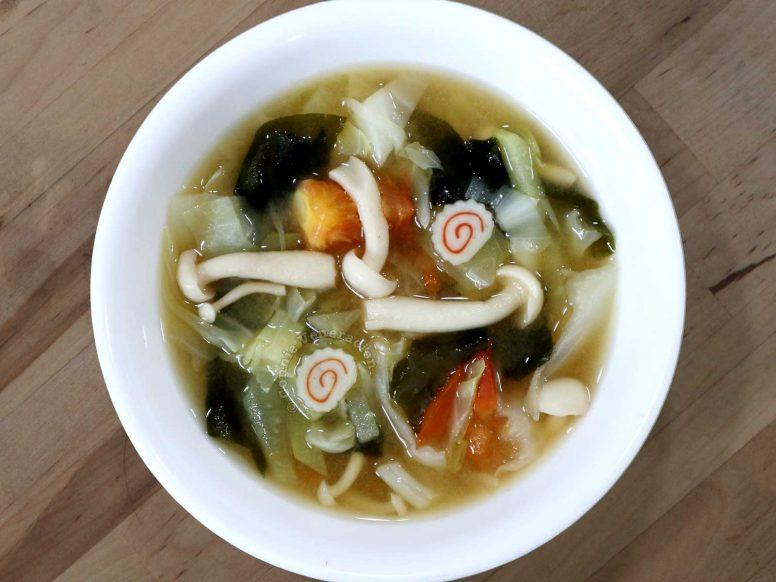 Vegetables, Naruto and Mushroom Miso Soup