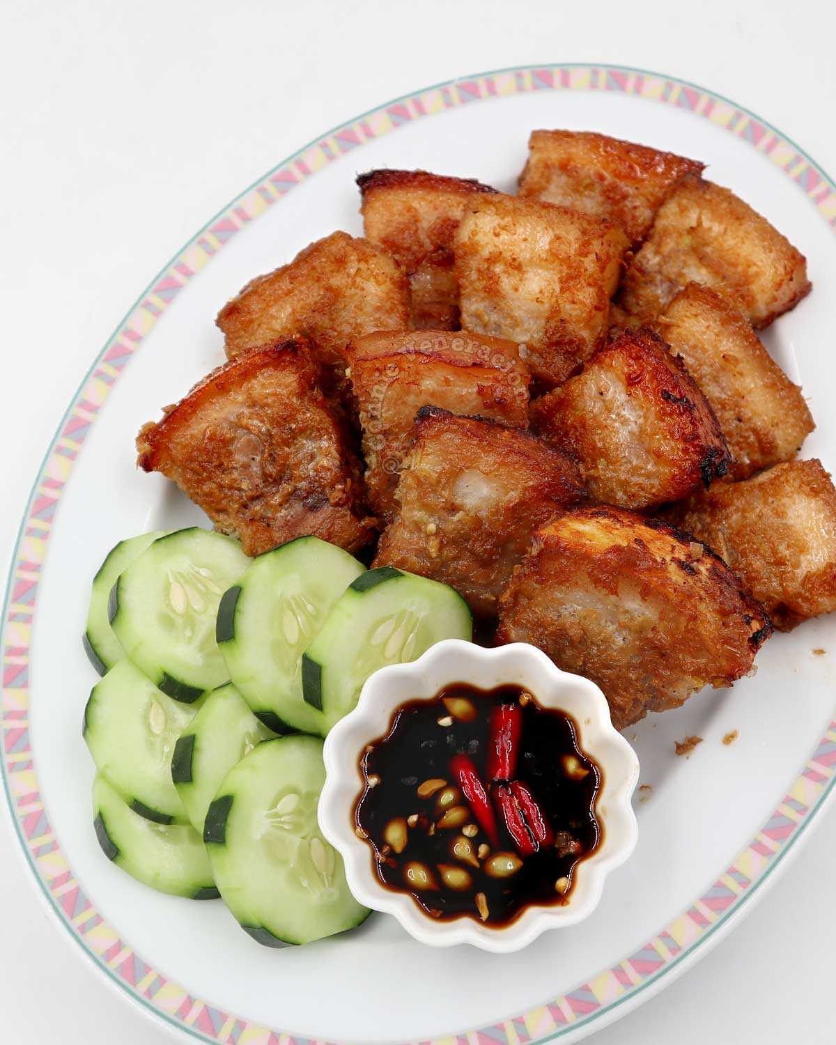 Vietnamese Grilled Lemongrass Pork Belly with Dipping Sauce and Cucumber Slices
