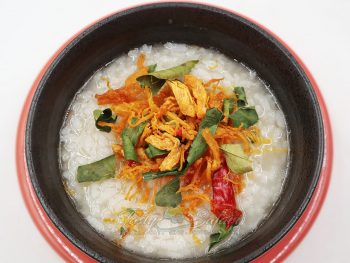 Vietnamese chicken floss over congee