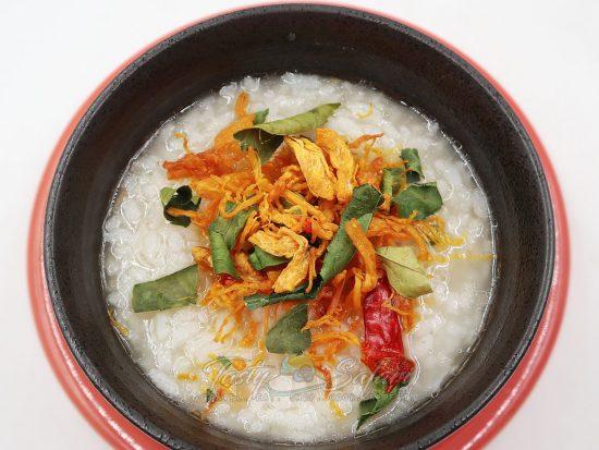 Vietnamese chicken floss over congee