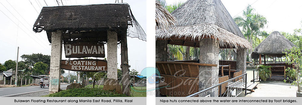 Sign post and nipa huts, Bulawan Floating Restaurant