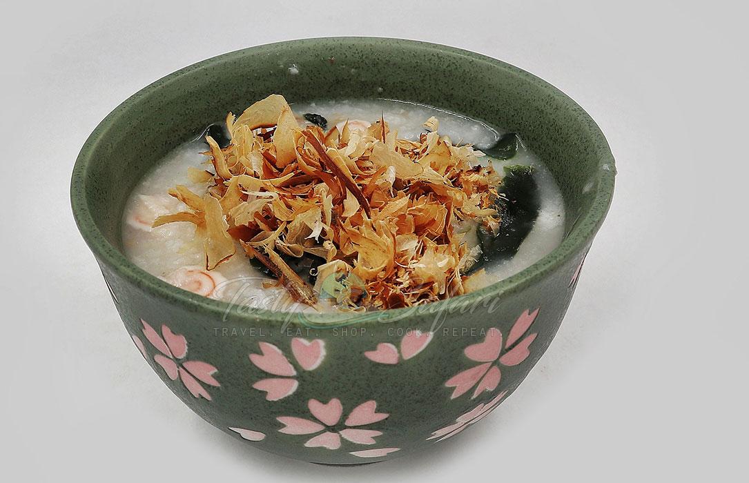 Katshuobushi in a bowl of congee