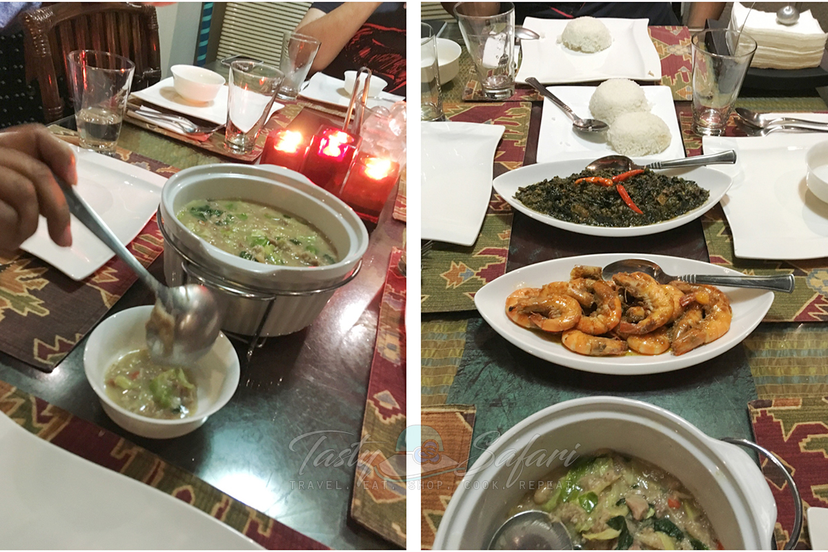 At KUS Private Dining: Pamplina soup, prawns and laing