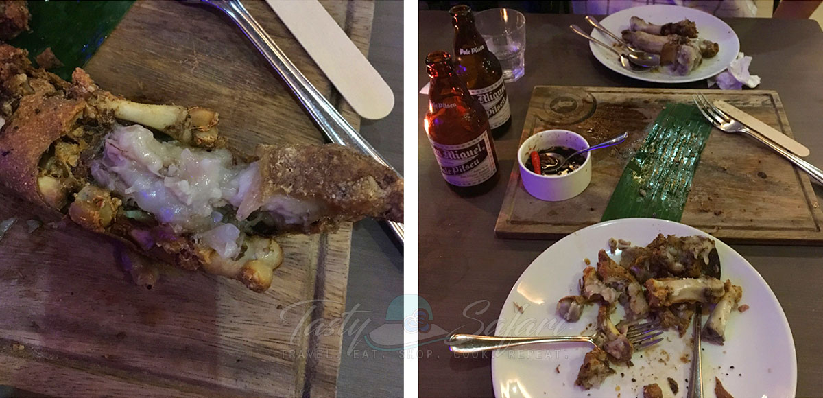 The remains of the crispy pata at livestock