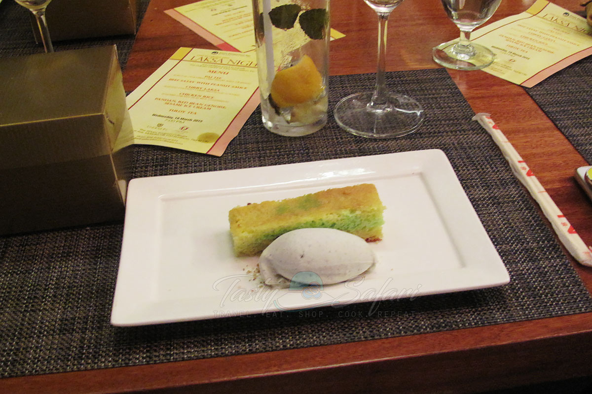 Pandan and red beab genoise with sesame ice cream