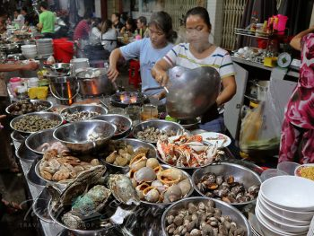 Fresh seafood cooked streetside in Saigon