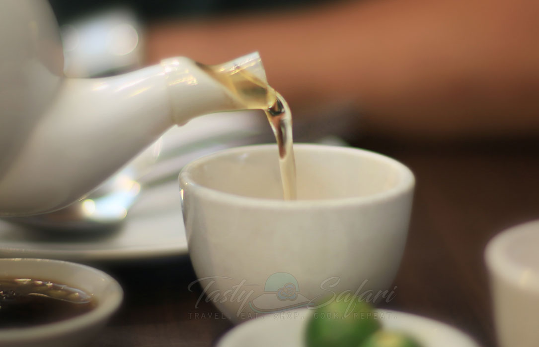 Pouring tea during yum cha