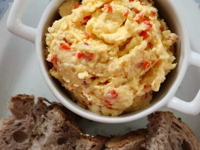 Filipino cheese pimiento with slices of rye bread