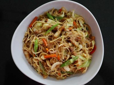 Pancit miki bihon in serving bowl