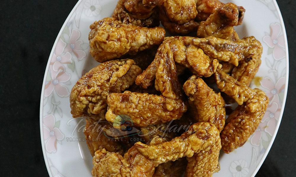 Fried Chicken Wings with Sticky Soy Honey Glaze Recipe