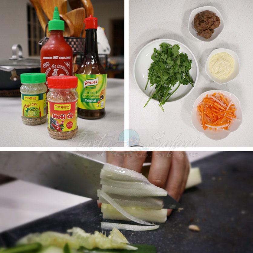 Ingredients for making banh mi at home