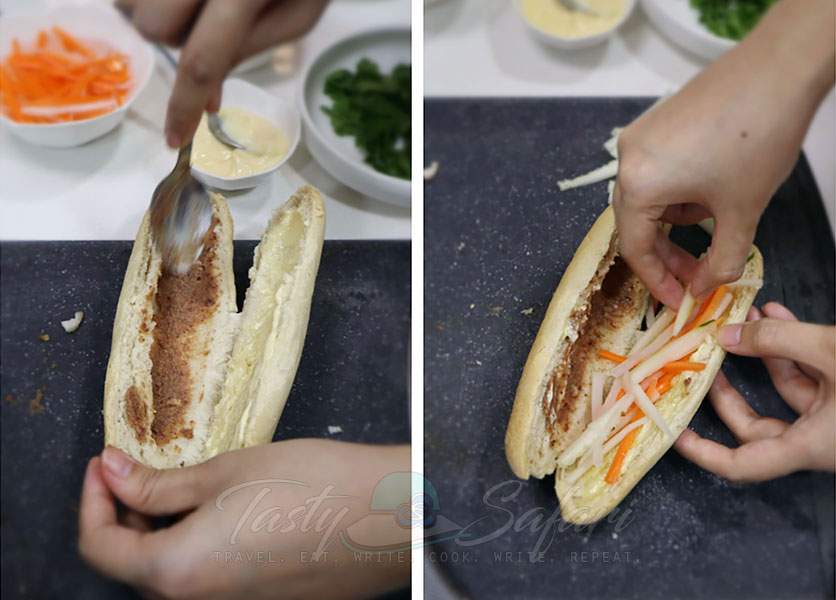 How to make banh mi, step 1: Sp;it the baguette and spread with mayo and liver pate, and spread pickled carrot and radish