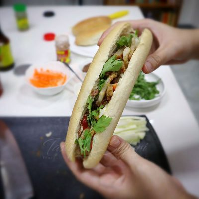 Homemade banh mi with roast pork belly filling