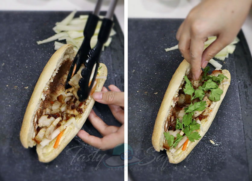 How to make banh mi, step 2: Pile on the roast pork belly and top with cilantro