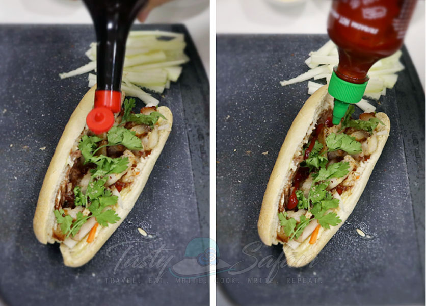 How to make banh mi, step 3: Sprinkle with salt blends, liquid seasoning and chili sauce