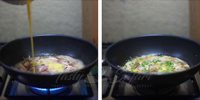 How to Cook Oyakodon Step 2: Pour in beaten eggs and simmer until set